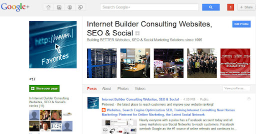 Google+ Internet Builder Consulting business profile on Google Plus social network